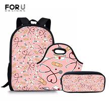 FORUDESIGNS Children School Bags For Girls School Backpack Set Cute Nurse Pattern Kids Backpacks Mochila SchoolBag kids Satchel