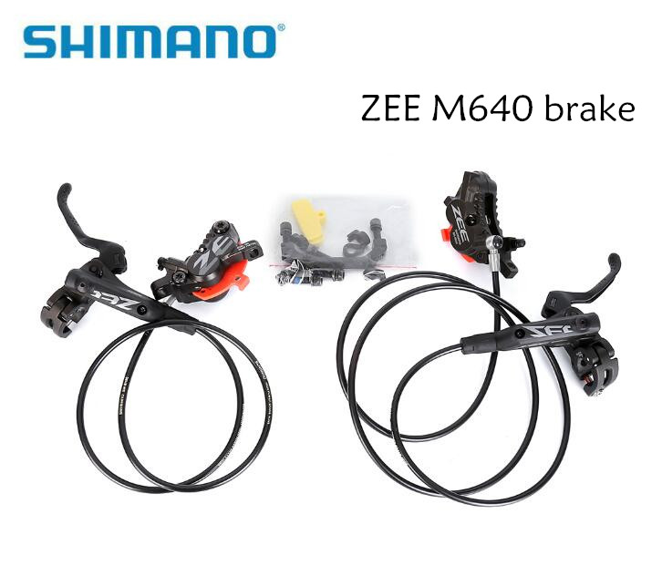 SHIMANO ZEE M640 4 Piston Metal Cooling Fins Hydraulic Disc Brake MTB Mountain Bike Front & Rear Lever and Caliper Bicycle parts 2 pair universal car 3d style disc brake caliper covers front rear