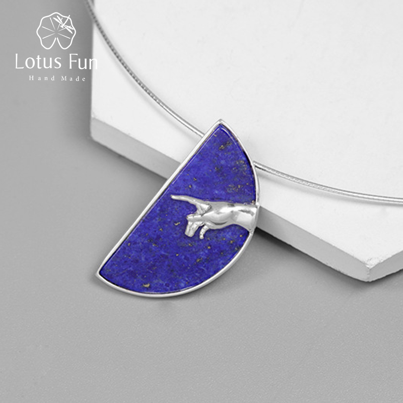 Lotus Fun Real 925 Sterling Silver Handmade Fine Jewelry  Hand Of God From The Creation Of Adam Pendant Without Necklace Women