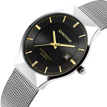 Ultra Thin Mens Watches Top Brand Luxury Quartz Watch Stainless Steel Mesh Casual Calendar Waterproof Male Military