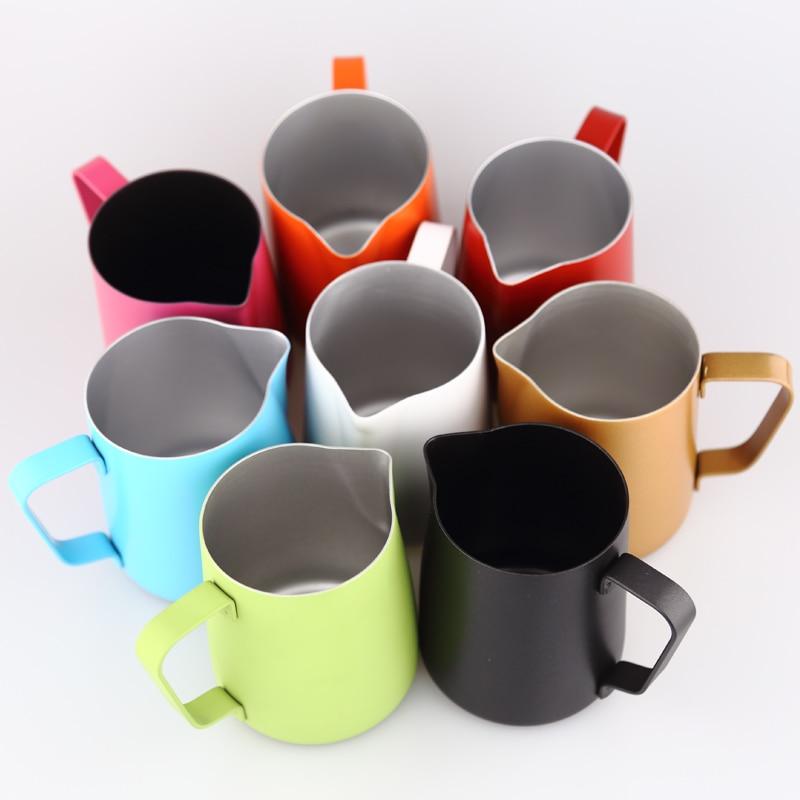 Espresso Stainless Steel Coffee Pitcher Barista Gear 8 Colors Latte Art Mug Kitchen Milk Frothing Jug 350ml
