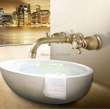 Настенные античная ванна смесители 3 шт. бассейна двойные ручки горячей и холодной бассейна кран BF1011