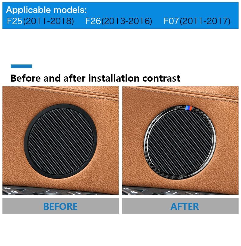 Airspeed for BMW F25 X3 X4 F26 X4 BMW F26 F07 Sticker for BMW X3 F25 Carbon Fiber Interior Trim Stickers Car Door Speaker Ring (4)