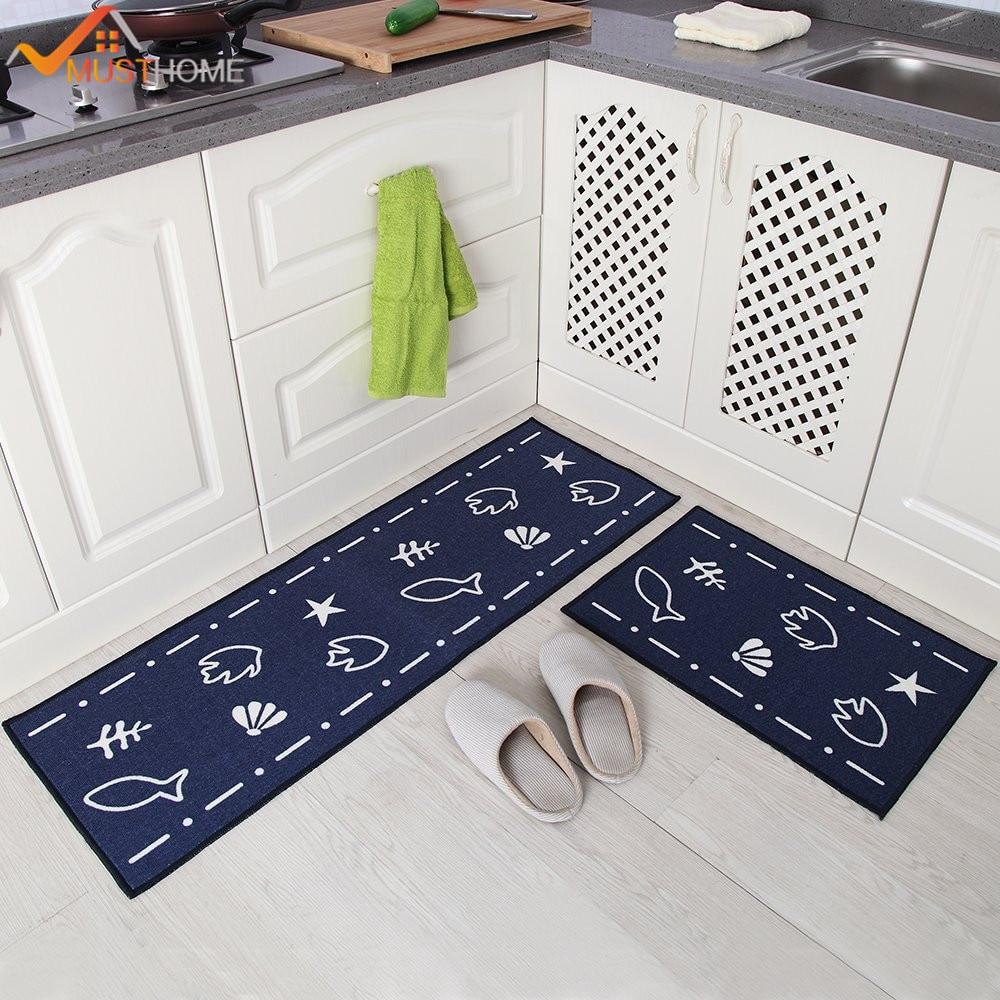 2 stücke küche teppiche set dunkelblau cartoon waschbar küche matten 4060 cm 40