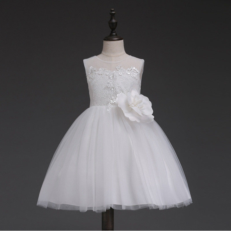 New White Princess Flower Girl Tutu Dress Summer Sleeveless Child Birthday Prom Party Dresses Big Floral Designs Teenager Dress black white princess girl tutu dress