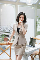 New Styles 2018 Summer Short Sleeve Formal Skirt Suits With 2 Pieces Tops And Skirt For Ladies Office Uniforms Work Wear Sets