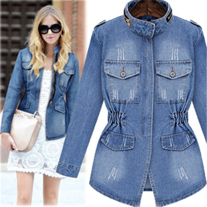 US Spring Autumn New Noble stars lady Streetwear denim Jackets blue patchwork pockets buttons High quality cotton Turtleneck in Jackets from Women 39 s Clothing