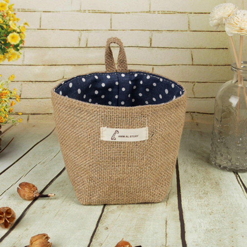 Image 4 - 2019 New Organizador Cotton Storage Bag Linen Flower Pot Organizer Small Sack Hanging Jute Dot Striped Storage Basket Box-in Foldable Storage Bags from Home & Garden
