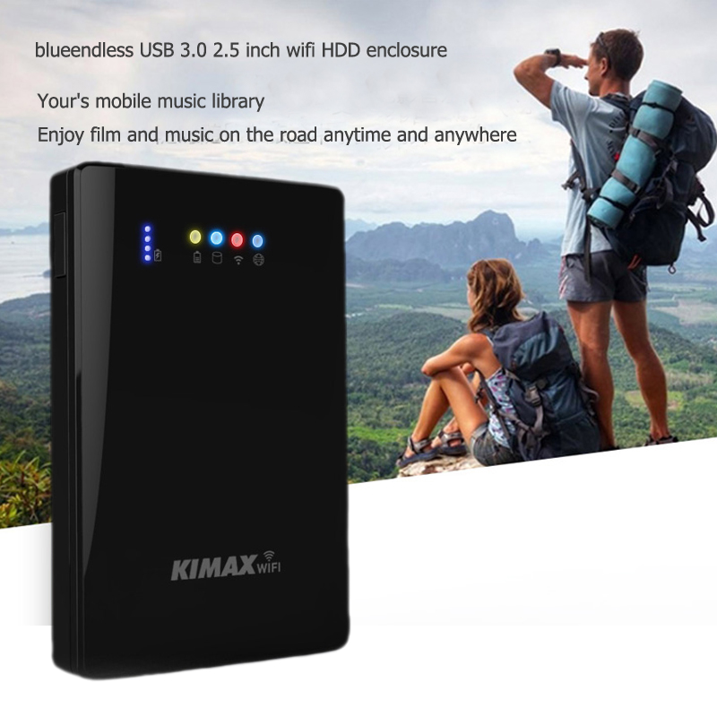 2.5 Inch Wifi Hdd Case 300mbps Wireless Router 4000mah Powerbank 3 In 1 Enclosure USB 3.0 5gbps Hard Disk Caddy For 1TB Hdd Ssd