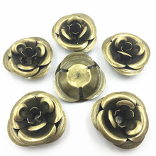 10Pcs Bronze Tone Connectors Embellissements Rose Flower Alloy Filigree Wraps Bag Ornament Jewelry DIY Findings 55mm