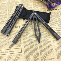 Stone Washed 440C Stainless Steel Training Knife Butterfly Balisong Folding Knife Butterfly Trainer Dull Tool No
