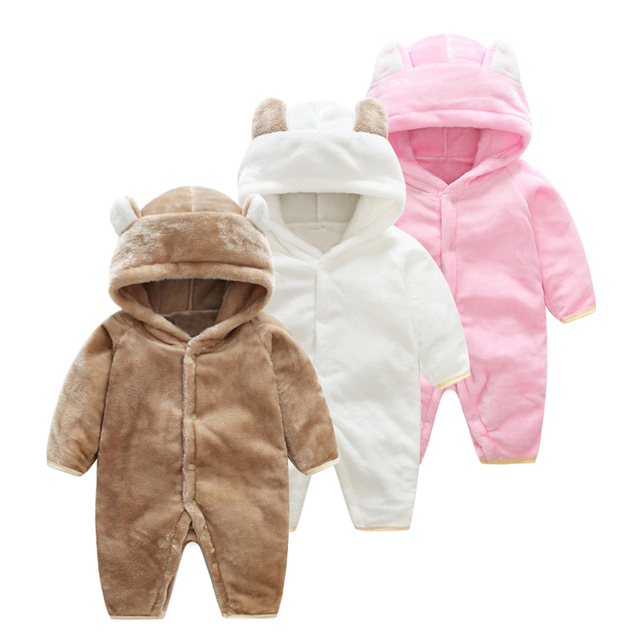 4fcae392ae9d Girl baby winter clothing 2018 flannel newborn baby boy dress animal onesie  jumpsuit baby pink girls one piece infant clothes