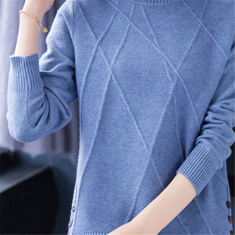 OYCBTDFW Spring Autumn Female Turtleneck Sweater Large sizer 2019 New Fashion Elegant Cashmere Sweater Women Warm Pullover NO674 in Pullovers from Women 39 s Clothing