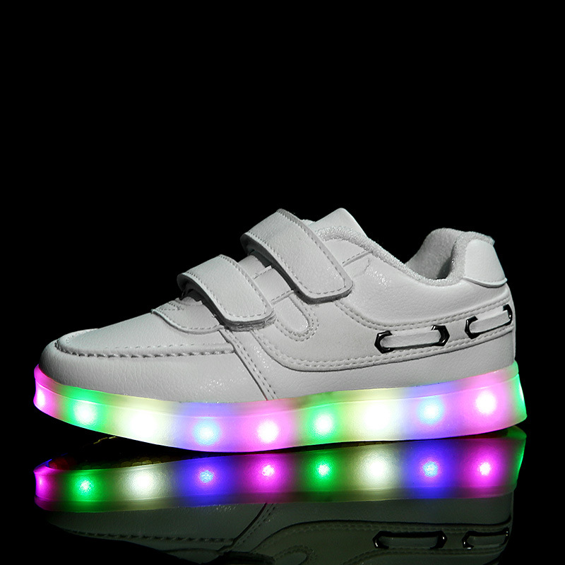Children'S Led Light Shoes For Boys/Girls Luminous USB Rechargeable Lights Shoes Kids Baby Fashion Sports Shoes Sneaker Casual 2016 winter new soft bottom solid color baby shoes for little boys and girls plus velvet warm baby toddler shoes free shipping