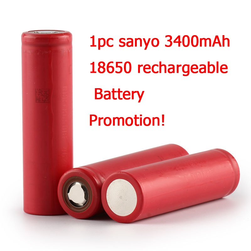 1pc New Sanyo original 18650 Li-ion Lithium battery 3400mAh NCR18650BF 3.7V Rechargeable battery For Flashlight powerbank 8pcs lot new original sanyo 18650 2600mah ur18650zy 3 7v li ion rechargeable battery free shipping