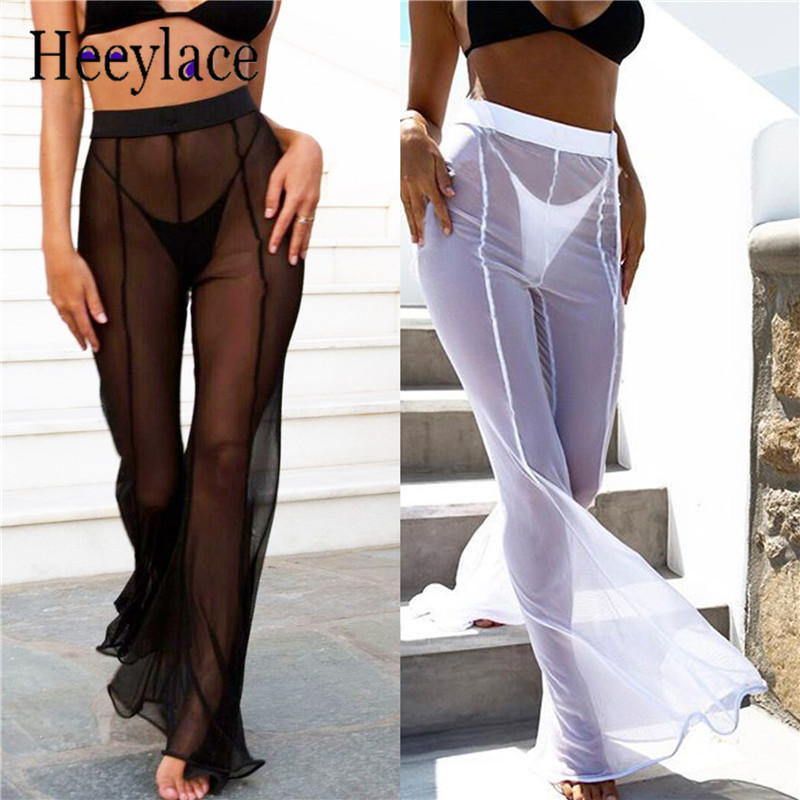 2018 transparent mesh wide leg   pants   women trouser Streetwear sexy   pants   female high waist   pants     capris   Summer beach   pants   women