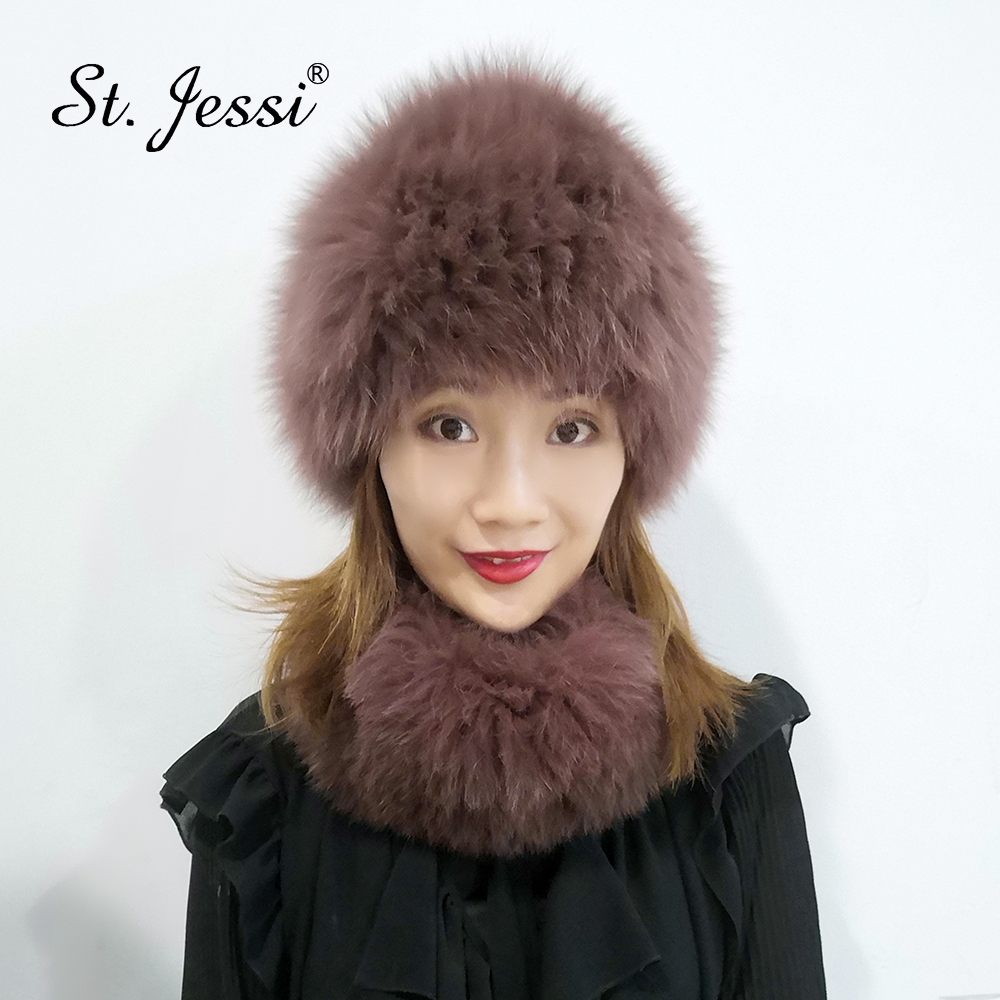 ST.Jessi 2019 Women Winter Fox Fur Hats & Scarves Set Natural Real Fur Beanie Hat Knitted Luxury Russia Neck Warmer Wrap Muffler