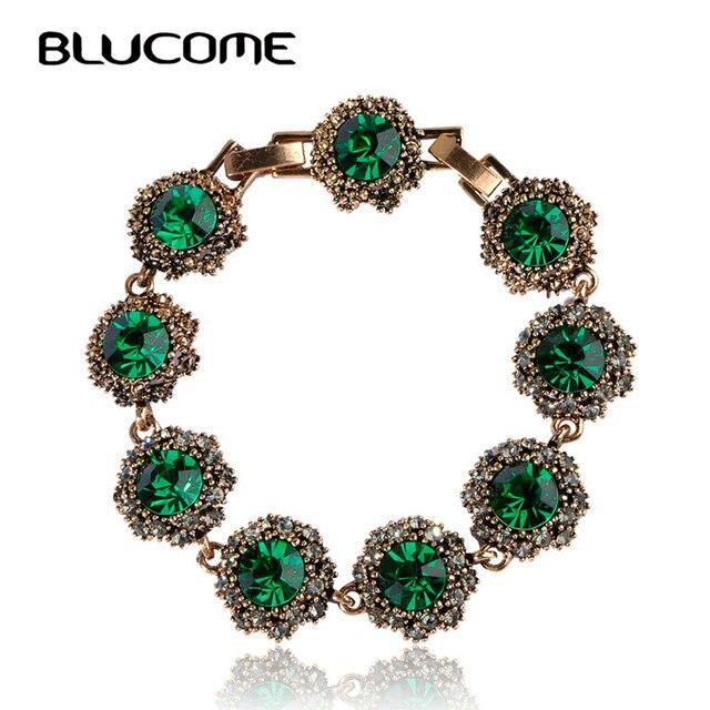 Blucome Vintage Women Lady Jewelry Bracelets Rhinestones Bangles Pulseras Pulseira Antique Gold Color Party Bijoux Accessories