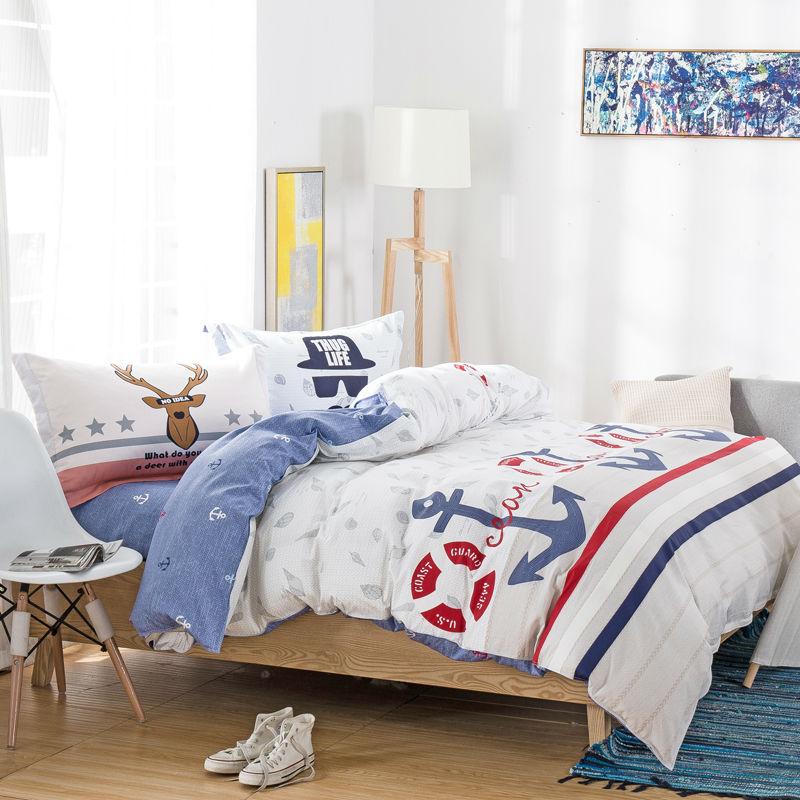fashion preppy style anchors print bedding sets linens cotton Twin/Single/Double/Queen Size duvet cover+bedsheet+pillowcases