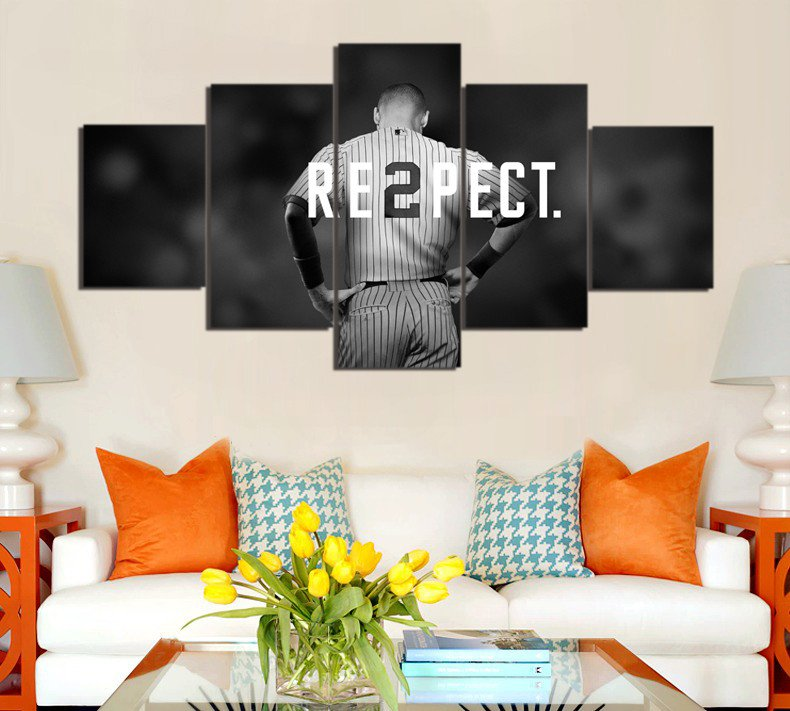 new york baseball player canvas painting wall art 5 pieces prints home decor picture panels poster for linving frame - New York Yankees Bedroom Decor