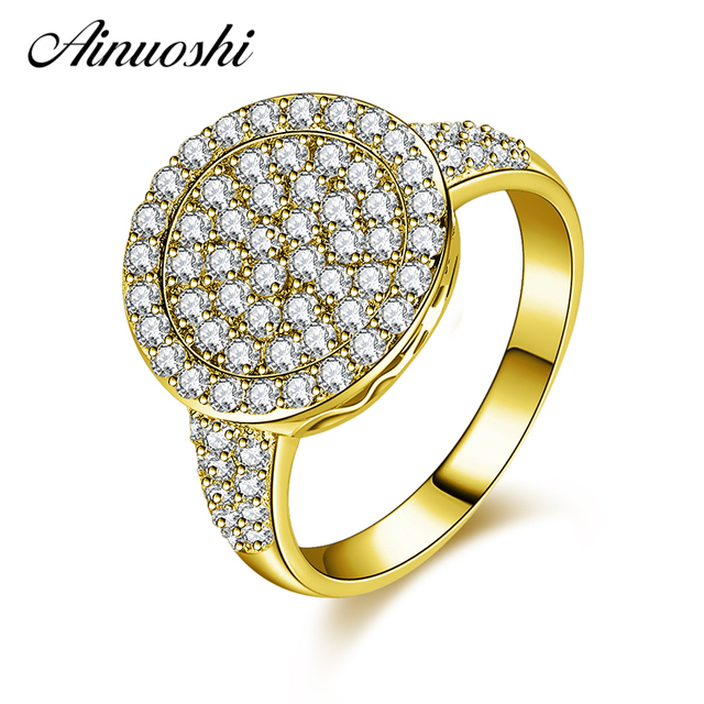 Ainuoshi 10k Solid Yellow Gold Engagement Ring 3 Brilliant Halo