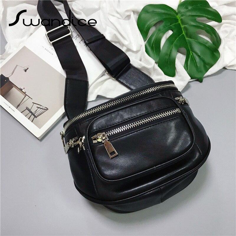 100 Real Genuine Leather Zipper Pocket Saddle Crossbody Shoulder Waist Chest Bum Belt Bags Packs Handbag