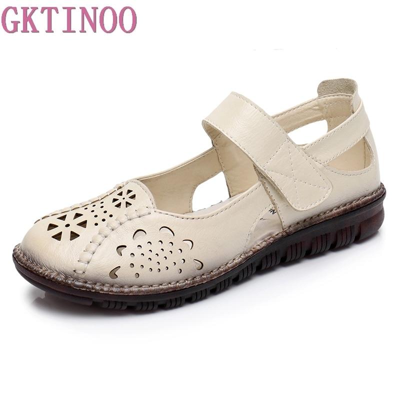 83e8b105c4f GKTINOO zapatos de verano de mujer de cuero genuino suave suela sandalias  de Punta cerrada Casual zapatos planos de mujer nuevas sandalias de mujer  de moda