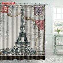 WONZOM 3D Landscape Paris Tower Polyester Fabric Shower Curtain with 12 Hooks For Bathroom Decor Modern Bath Waterproof Curtain waterproof eiffel tower floral polyester shower curtain