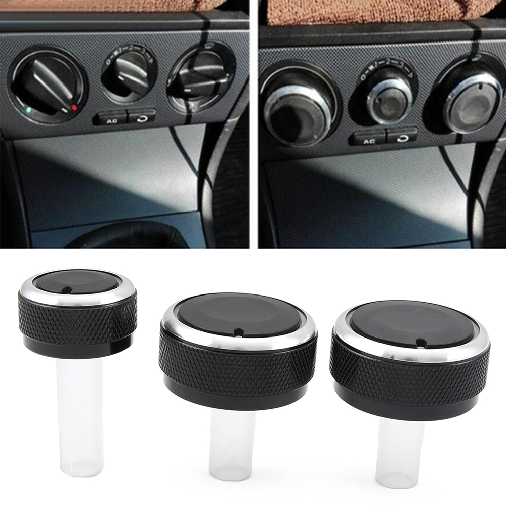 3PCS FIT FOR SKODA SUPERB OCTAVIA MK1 SWITCH KNOB KNOBS HEATER CLIMATE CONTROL BUTTONS DIALS FRAME RING AC AIR CON ACCESSORIES