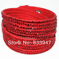 Wholesale Price Mix Color New BlingBling Bracelet Fashion Beaded Ribbon Wrap Crystal Bracelet HY12027