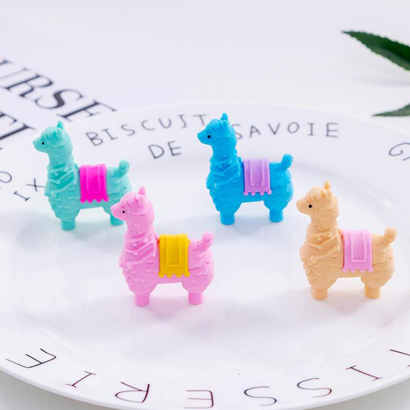 4 Pcs/set Kawaii Mini Colorful Animal Little Alpaca Sheep Removable Rubber Pencil Erasers Stationery Papelaria Students Gifts