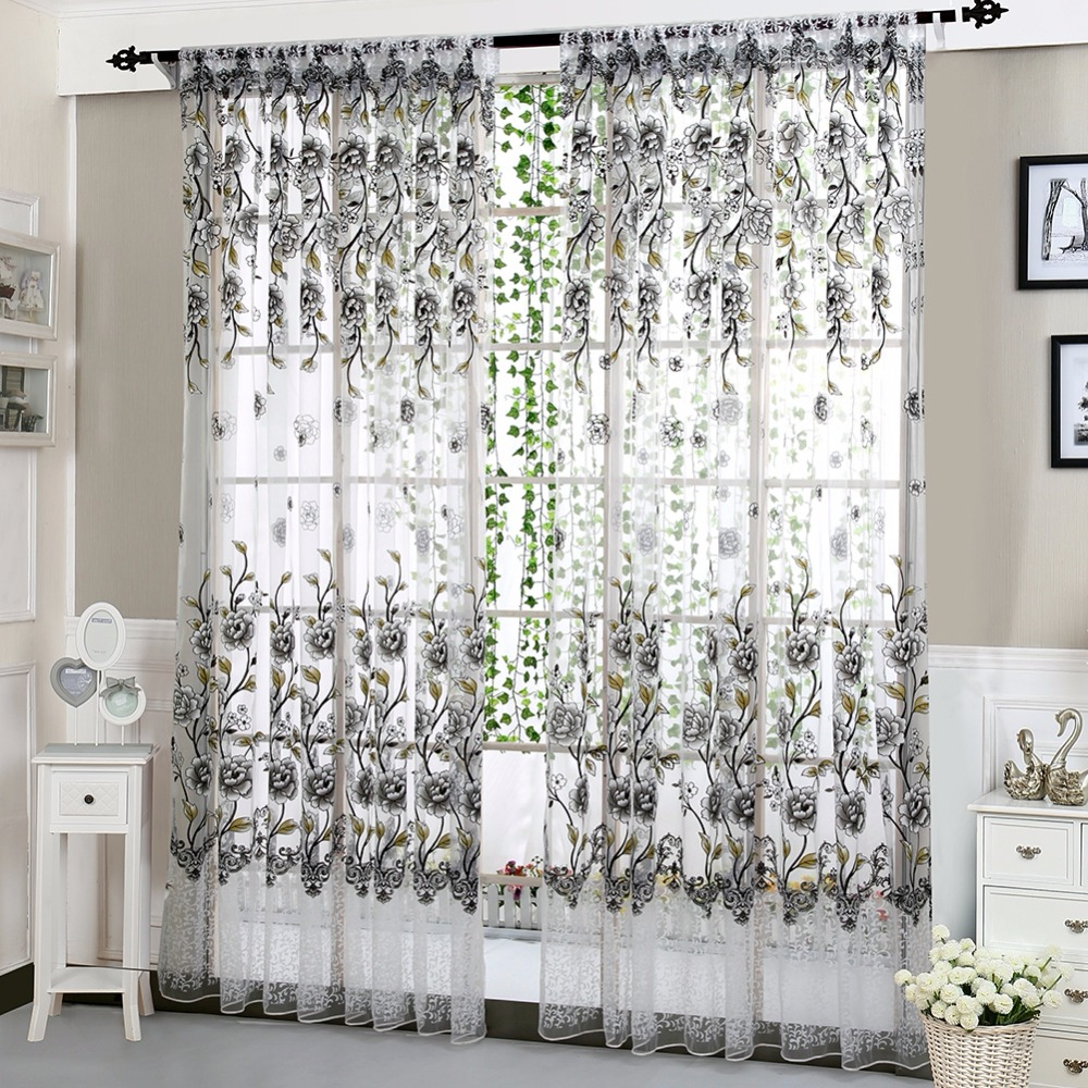 Home Office Window Curtain Flower Print Divider Tulle Voile Drape ...