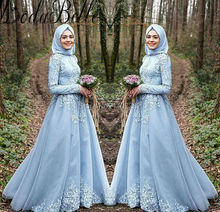 2017 New Style Long Sleeve Muslim Evening Dresses With Hijab Lace Appliques Dubai Kleider Women Formal Evening Gowns Party Dress