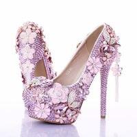 Розовые цветы обувь с украшением в виде кристаллов свадебная обувь высокий каблук с бантом кисточкой кулон Женская обувь водонепроницаемы...