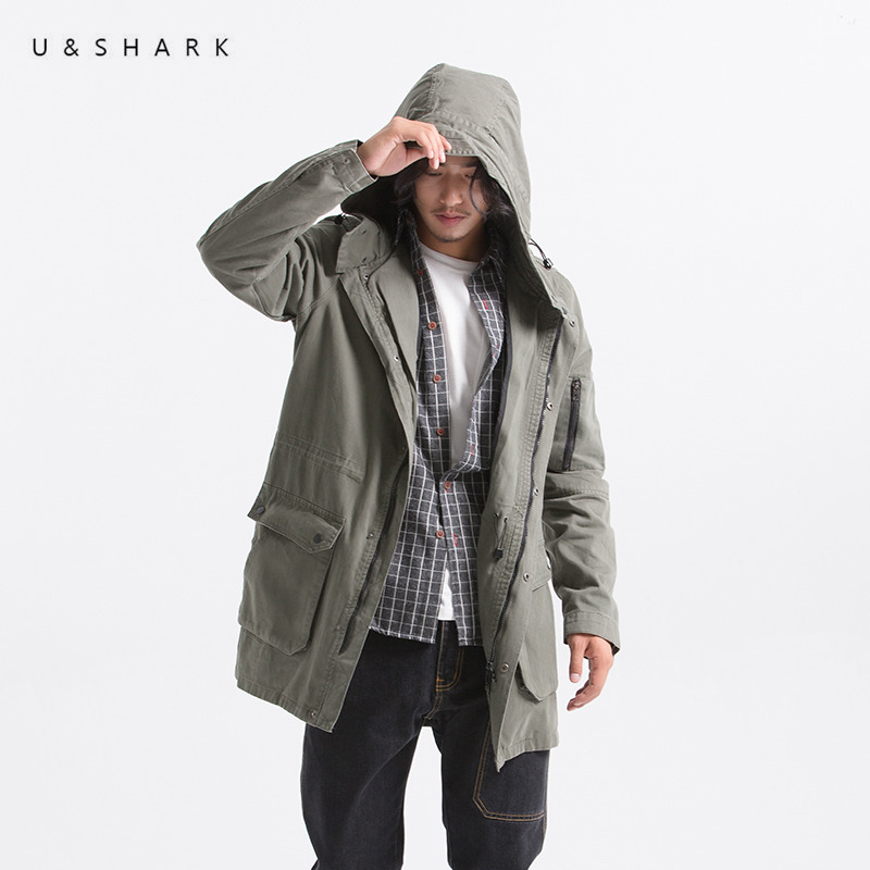 U&SHARK New Men Trench Jacket Army Green Hooded Trench Coat Male Cotton Clothing Long Version Windbreaker Jackets Coats Oversize