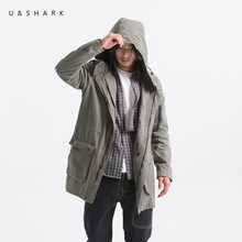 U&SHARK New Men Trench Jacket Army Green Hooded Trench Coat Male Cotton Clothing Long Version Windbreaker Jackets Coats Oversize(China)