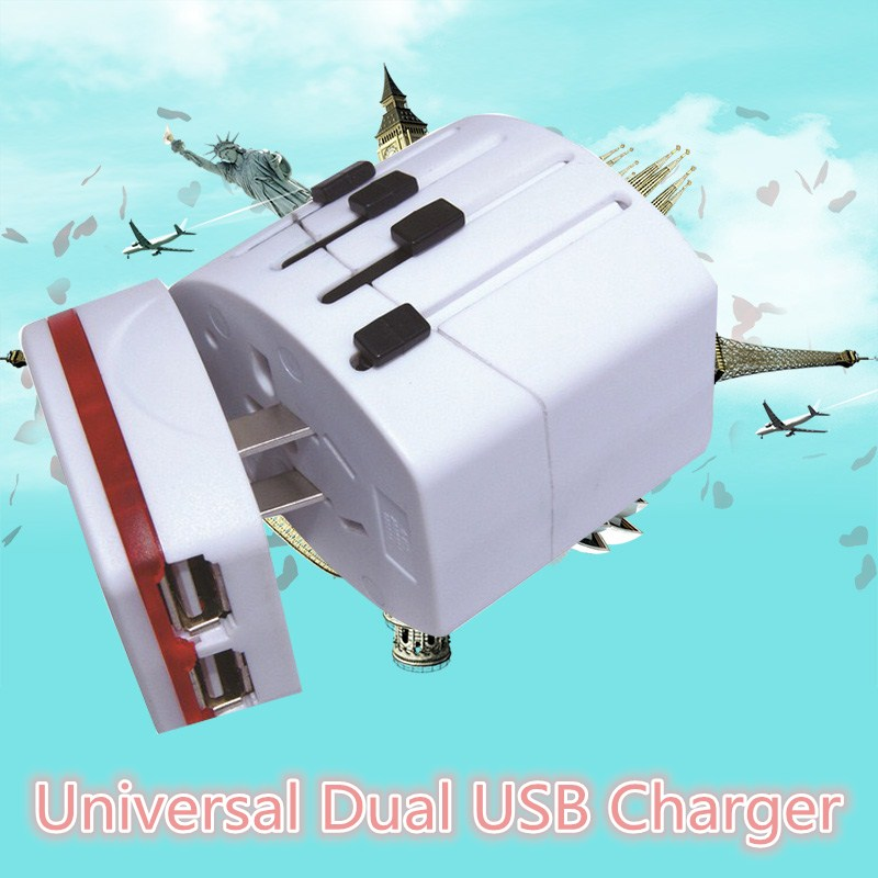 UK/US/AU/EU Universal Travel Ac Power wall charger Adapter Converter With Dual Usb Electrical Plug For Travle Home Use CM111