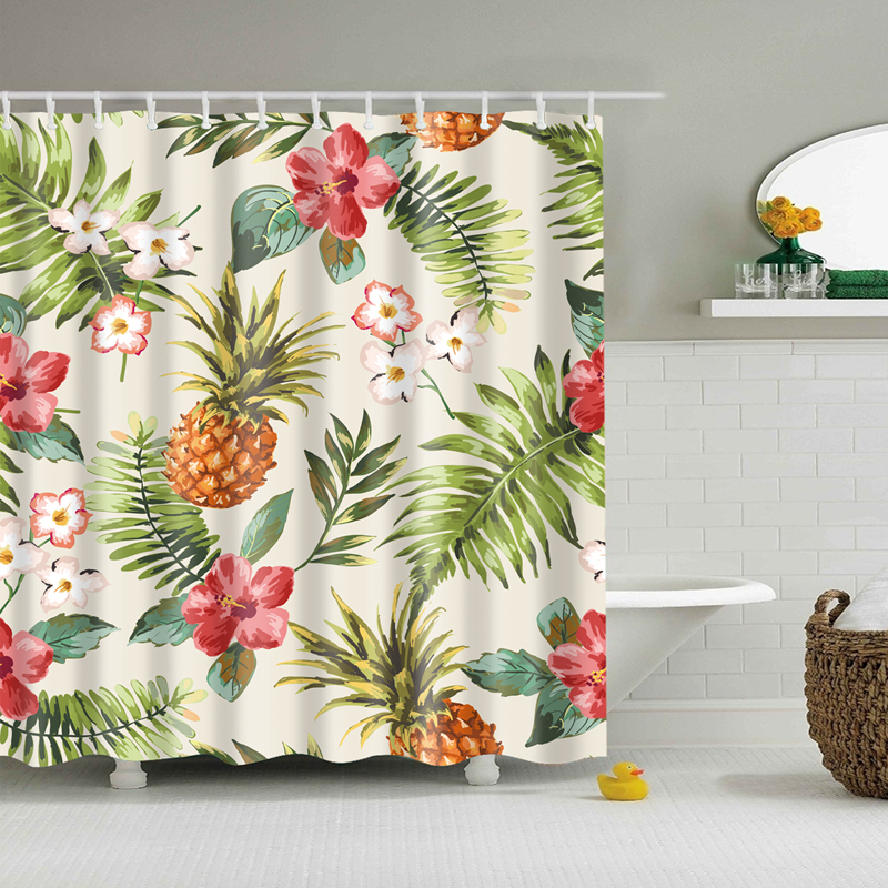 Image 5 - Natural Pattern Pineapple/ Flower / Leaf Polyester Shower Curtains Washable High Quality Colorful curtains for bathroom shower-in Shower Curtains from Home & Garden