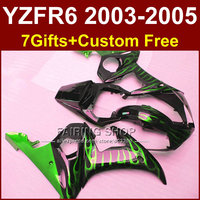 Green flame in black fairing set for YAMAHA YZFR6 2003 2004 2005 motorcycle fairings kit YZF R6 03 04 05 bodyworks YZF1000 WH7U