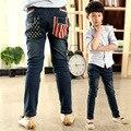 Малыш зимние джинсы 2015 мода новый американский флаг карман брюки печать голубой мальчик брюки середине талии узкие для малыша зимние джинсы