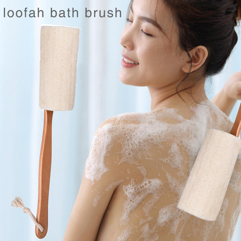 2PCS Natural Exfoliating Loofah Luffa Loofa Back Sponge Scrubber Brush With Long Wooden Handle Stick Holder Body Shower Bath Spa