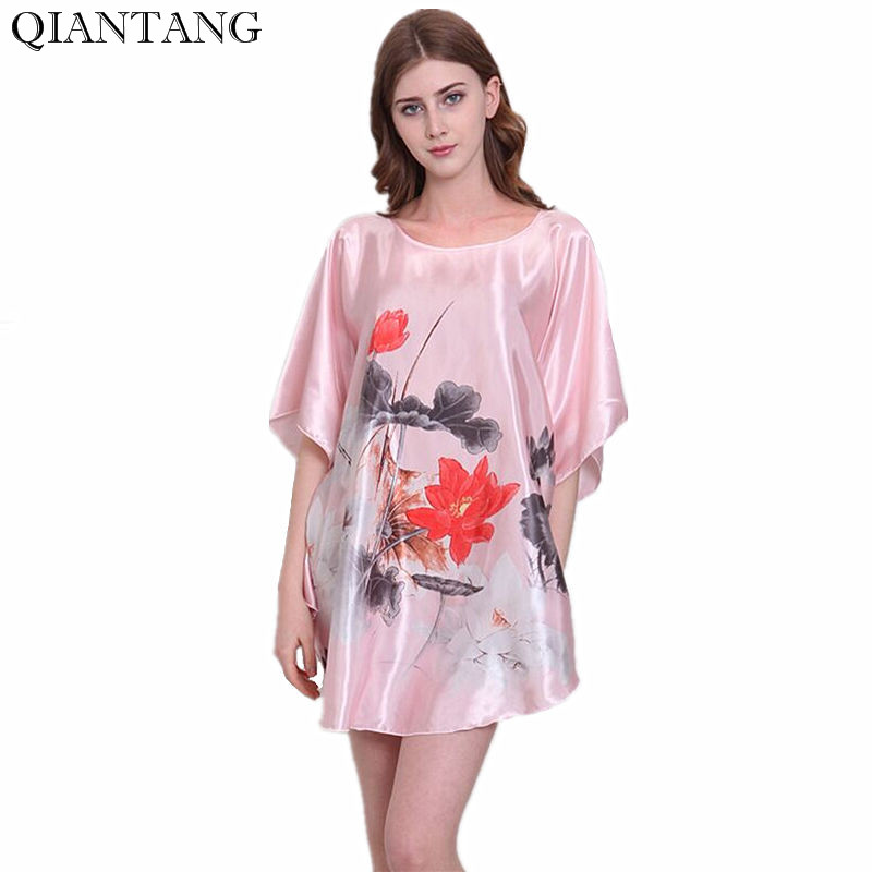 Summer Womens Night Robe Fashion New Chinese Style Bath Gown Faux Silk Nightgown Sleepwear Mujer Pijama One Size Flower Y8641