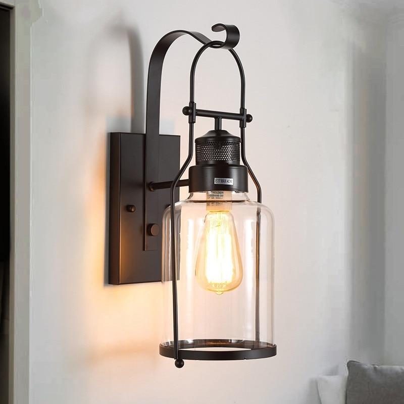 Loft industriel Vintage lampes murales rétro fer applique pour salon Bar salle de bain chambre chevet lampes verre mur LED lumières