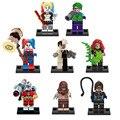 DC Super Heroes 8 Unids/lote mini Joker Harley Quinn Dos Cara Espantapájaros Hiedra Venenosa Catwoman Deadshot figuras Juguete lepin Compatible