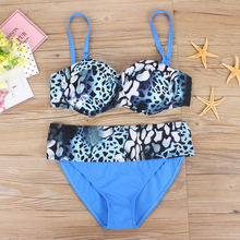 2017 New Sexy Plus Large Size Halter Top Swimwear Women Print Swimsuit Bikini Set Summer Beach Swim Wear Push up Bathing Suits