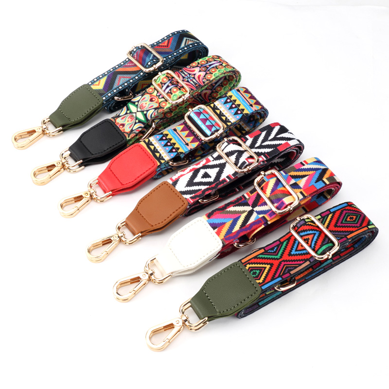 2018 New Women handbags Strap Gold Buckle Cotton Bag Straps Adjustable Trendy Easy Holding Shoulder Straps S201 2018 new handbags strap classic design embroidery gold buckle canvas bag straps new trendy easy holding shoulder straps qn203