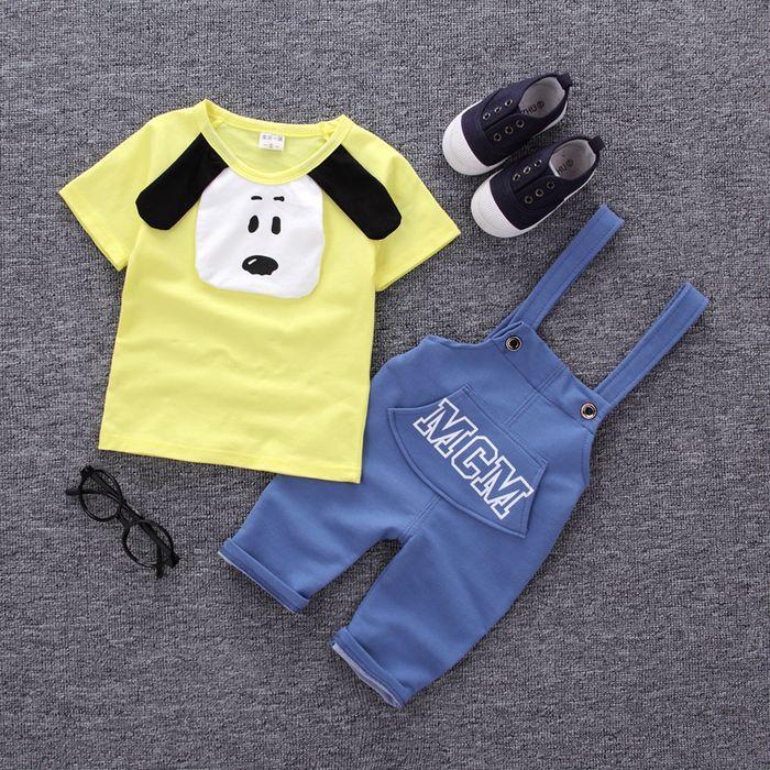 Летняя Новинка для мальчиков и девочек хлопок, с коротким рукавом, на ремешке, комплект с изображением животных из мультфильмов От 0 до 2 лет детская одежда