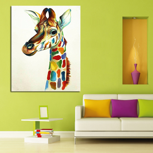Modern Handpainted Abstract Hang Pictures Colourful Giraffe Family ...