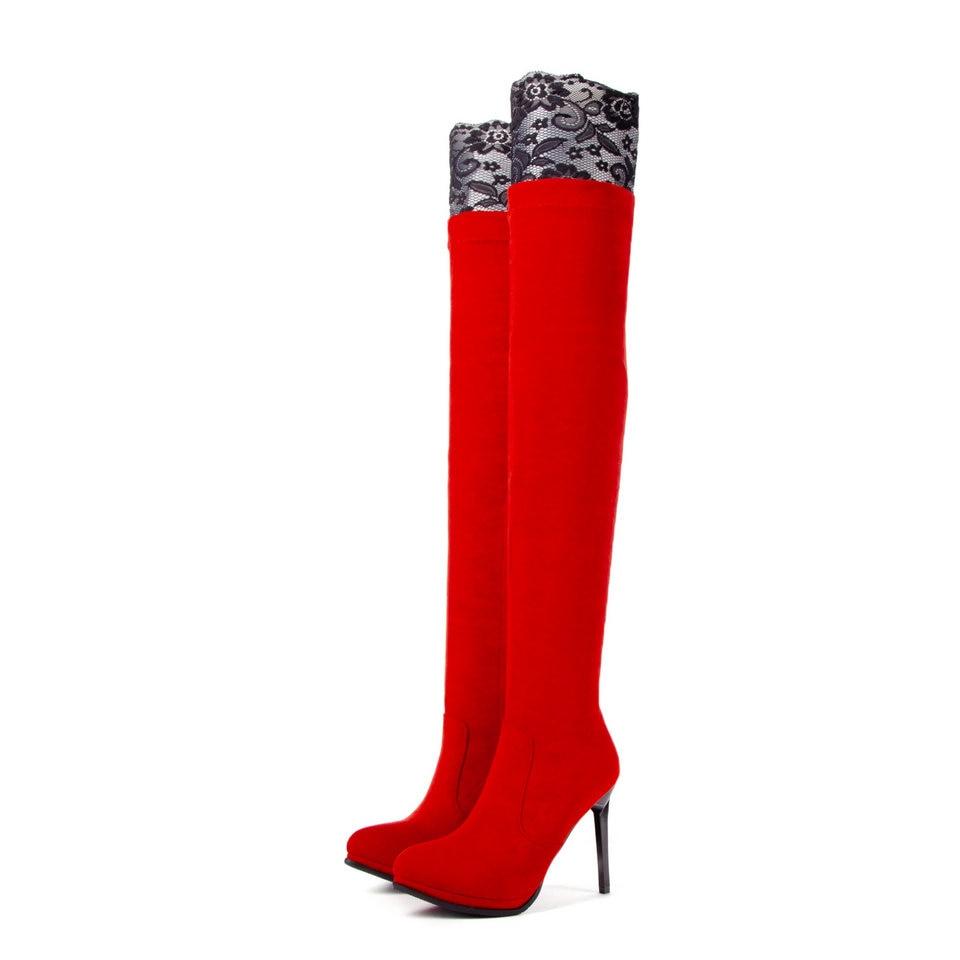 Botas Vinlle De 34 43 Alto Punta Motocicleta Dulces rojo Tacón Sobre Zapatos Plataforma Rodilla La Las Señoras Elegantes 2019 Estrecha Mujeres Negro Tamaño PHRqHwEr8x