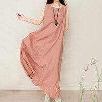 Casual Retro Brief Solid Color Boho Gowns 2017 Women Elegant Loose Sleeveless O Neck Dress